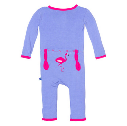 KicKee Pants Forget Me Not Flamingo Applique Coverall