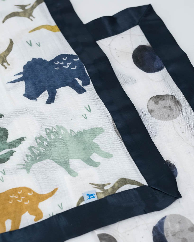 Dino  Friends + Planetary Muslin SECURITY Blankets