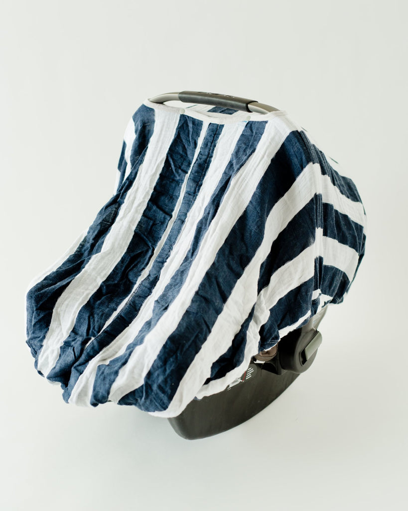 Car Seat Canopy Navy Stripe