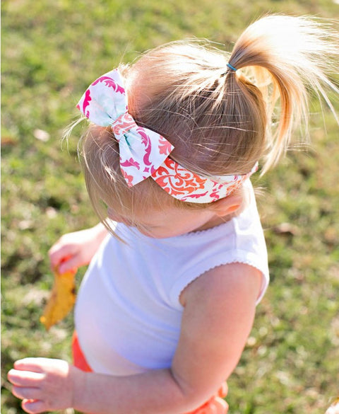 RuffleButts Damask Bow Headband