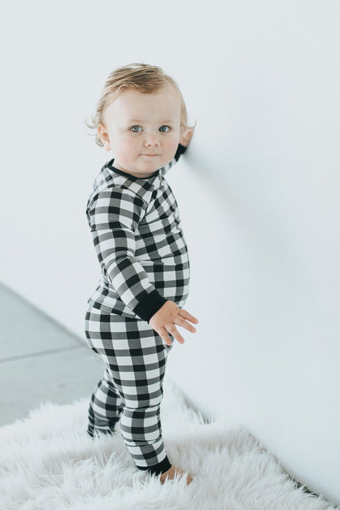 Monochrome Plaid Classic Thermal Pajama Set