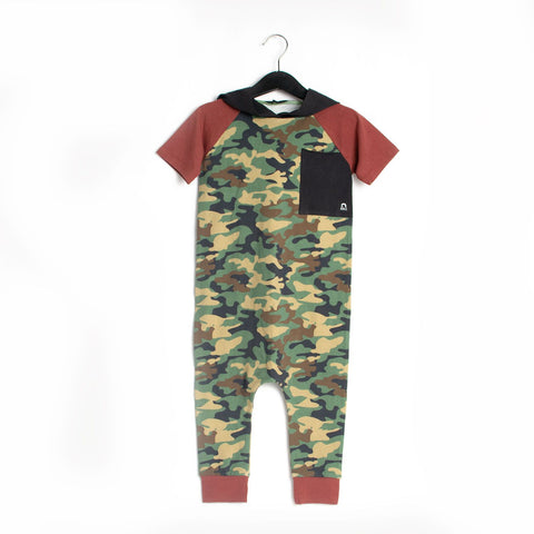 Short Sleeve Pocket Hooded Rag Romper - Camouflage Green