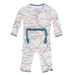 Natural Japanese Cherry Tree with Dusty Sky Trim Muffin Ruffle Coverall with Zipper