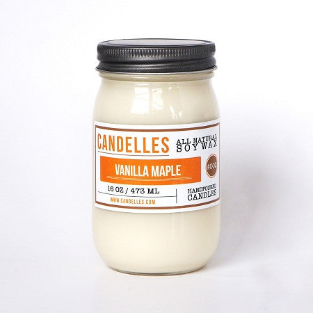 Candelles 16 oz All Natural Soy Wax Candle Vanilla Maple - Lil Tulips