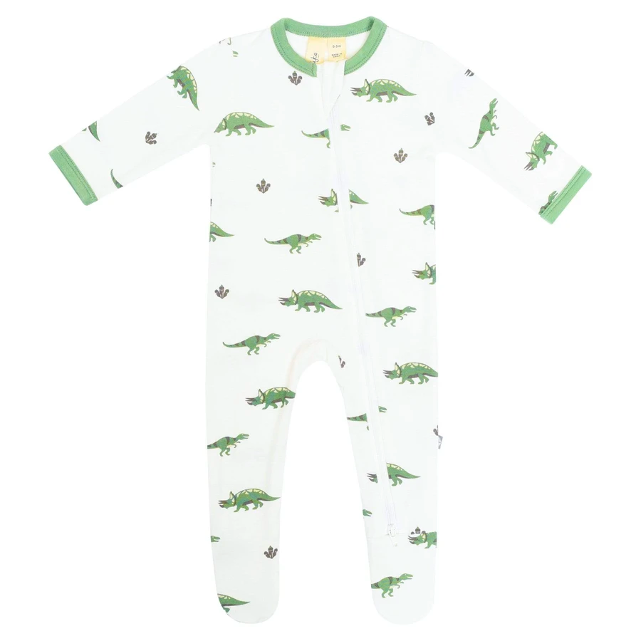 Printed Zippered Footie in DINO