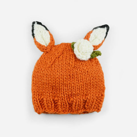 Rusty Fox with Flowers Knit Hat
