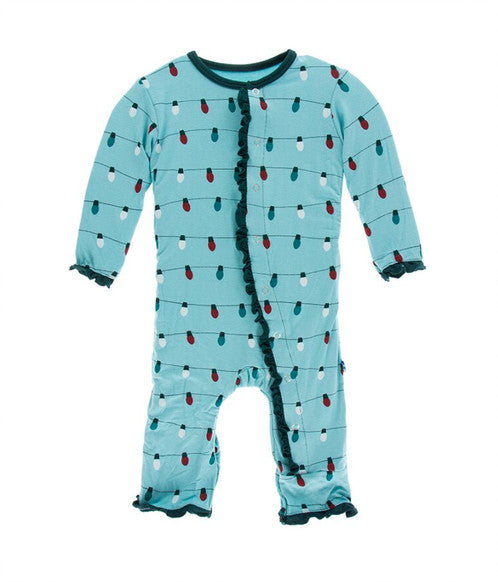 Glacier Holiday Lights Layette Classic Ruffle Coverall with Zipper