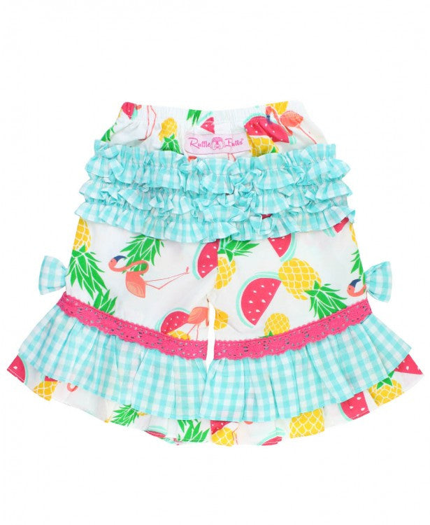 FINAL SALE Pineapple Picnic Ruffle Capris