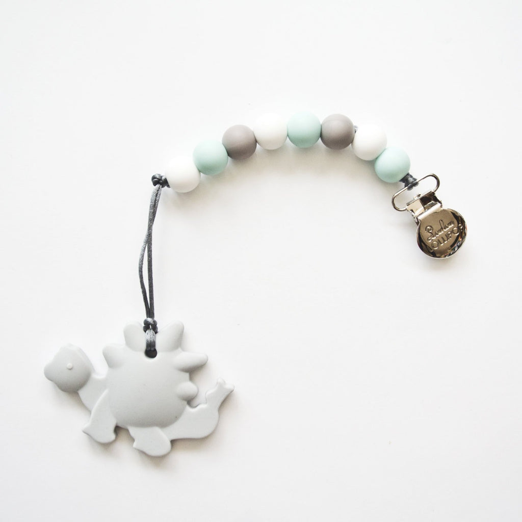 Gray Dino Teether w/Blue & Gray Clip