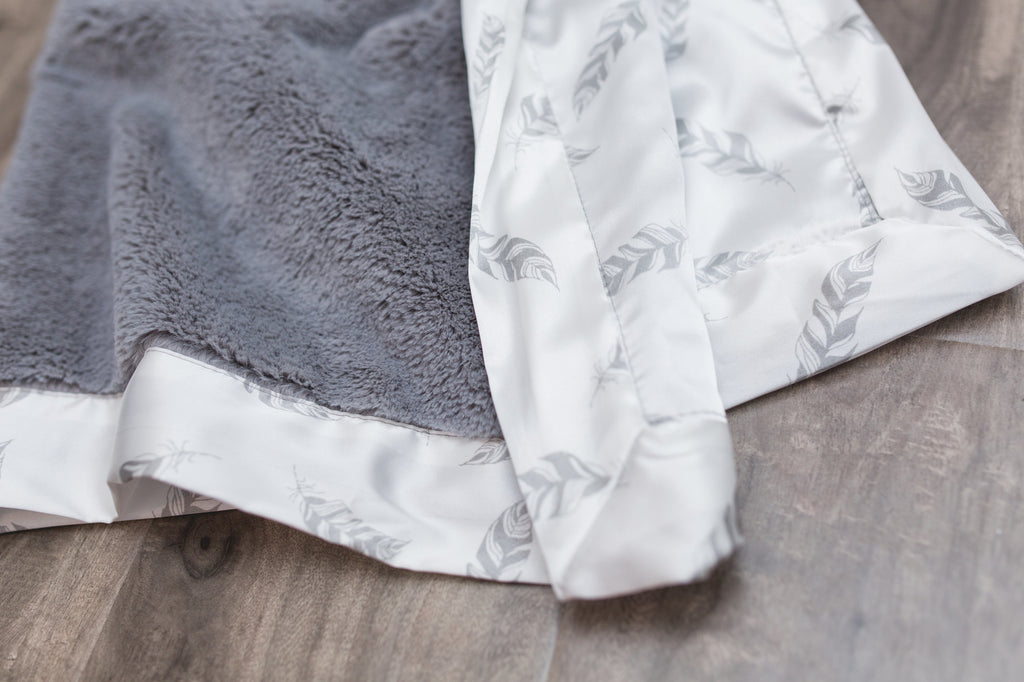 Gray Lush w/ Gray Feather Satin Back Mini Blanket