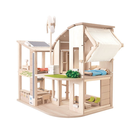 Green Dollhouse With Furniture