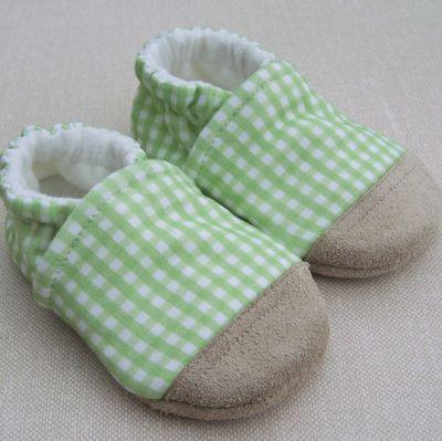 Green Gingham Organic Cotton Slippers (3-6 Months)