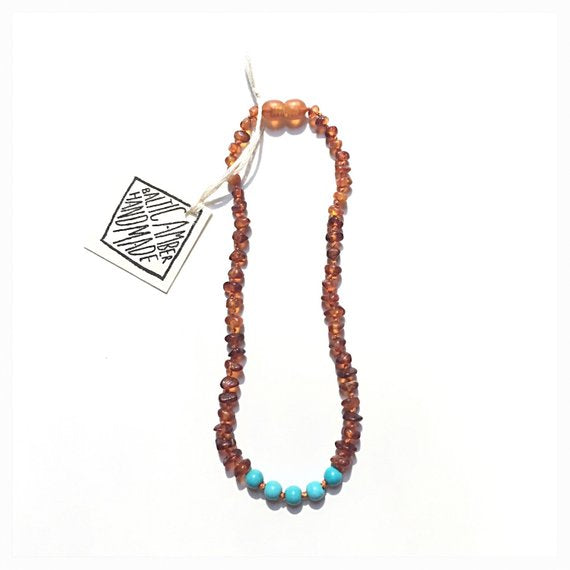 Cognac Raw Amber + Turquoise Howlite || Necklace