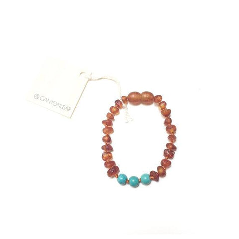 Raw Amber + Turquoise Howlite || Anklet • Bracelet Cognac