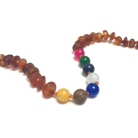 Cognac Raw Baltic Amber + Vintage Style Necklace