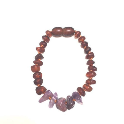 Raw Baltic Amber + Amethyst || Anklet • Bracelet Honey