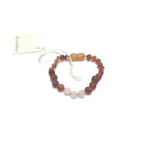 Raw Amber + Rose Quartz || Anklet + Bracelet Raw Cognac