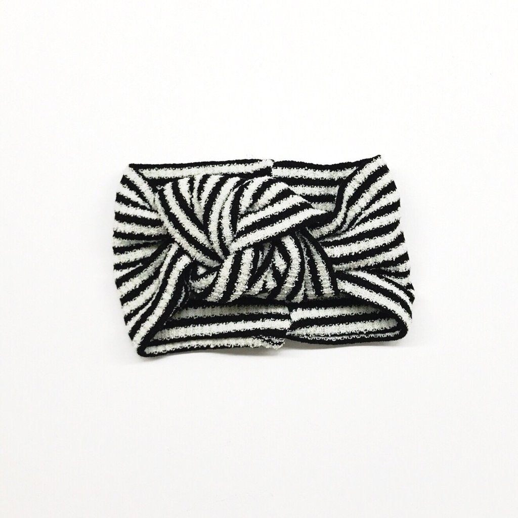 Classic Turban - Black & White Stripes