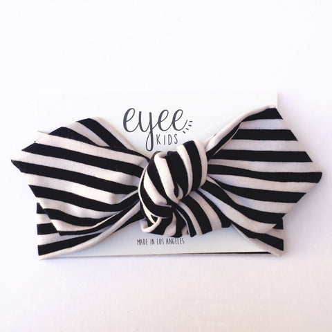 Top Knot Headband - Black and White Stripes