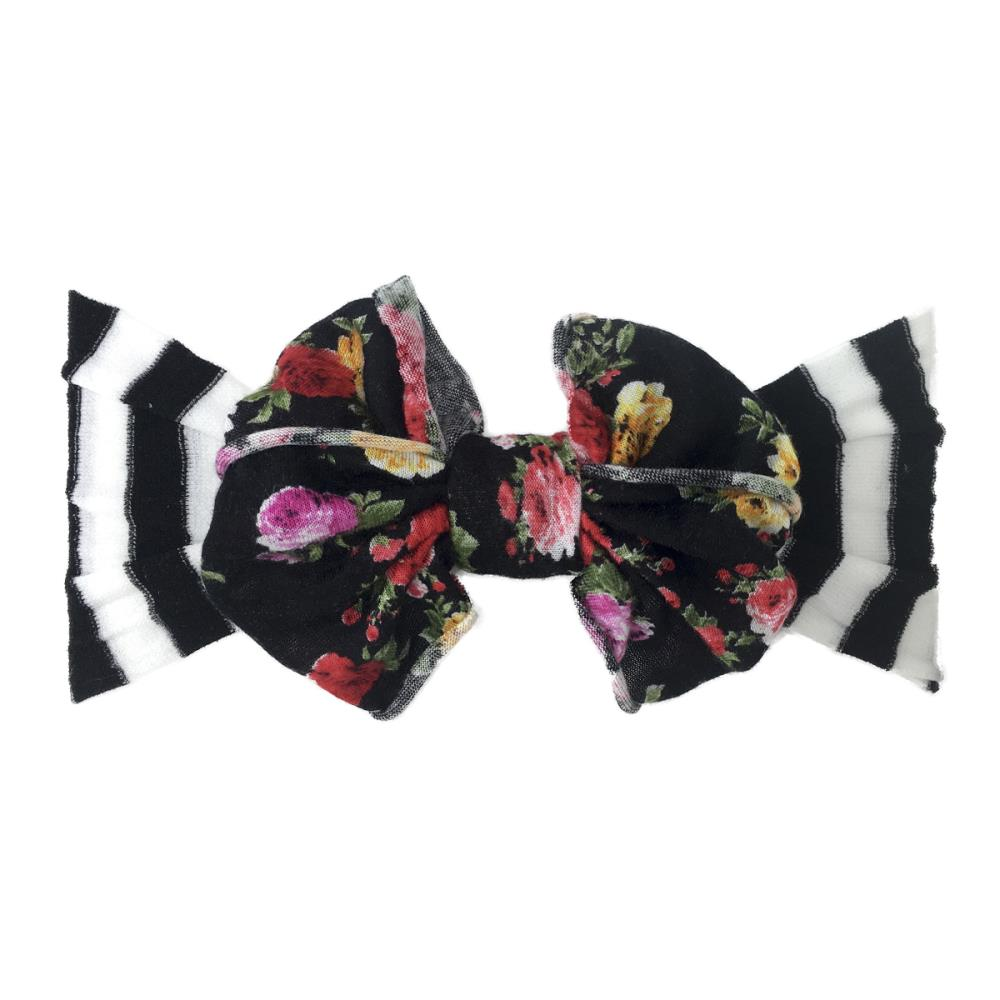 Jersey Bow Black Stripe/Black Floral