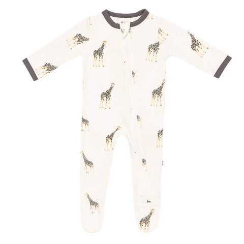 Printed Zippered Footie in Giraffe