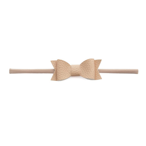 Leather Bow Tie Skinny Blush