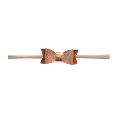 Leather Bow Tie Skinny Rose Gold