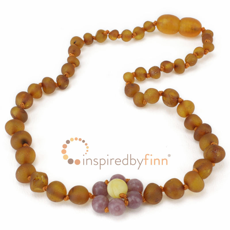 Unpolished Lepidolite Flower Amber Necklace