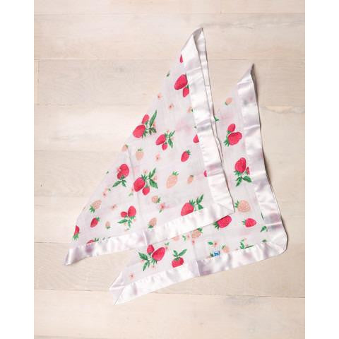 Little Unicorn Strawberry 2 Pack Cotton Muslin Security Blanket