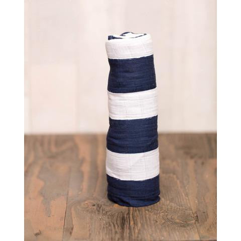 Navy Stripe Little Unicorn Single Cotton Swaddle
