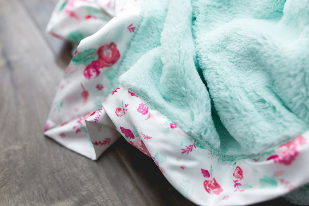 Mint Lush w/ Floral Satin Border Receiving Blanket