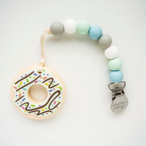 MINT DONUT SILICONE TEETHER W/HOLDER - BLUE MINT