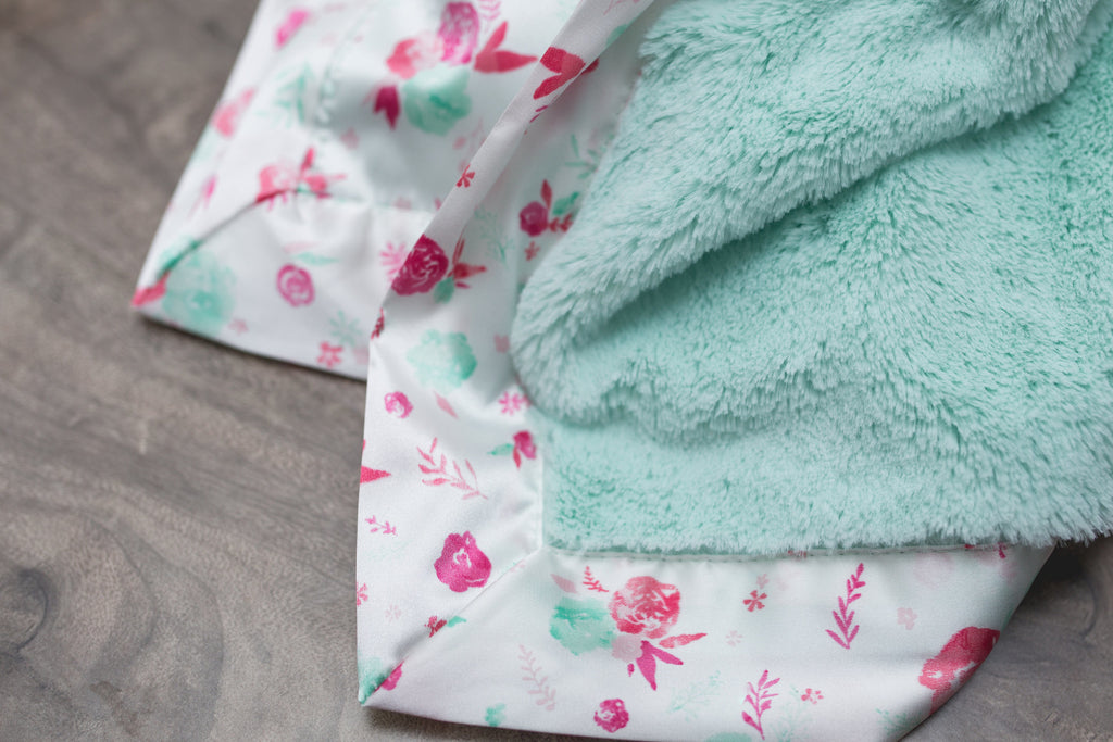 Mint Lush/Pastel Floral Satin Back Toddler-To-Teen