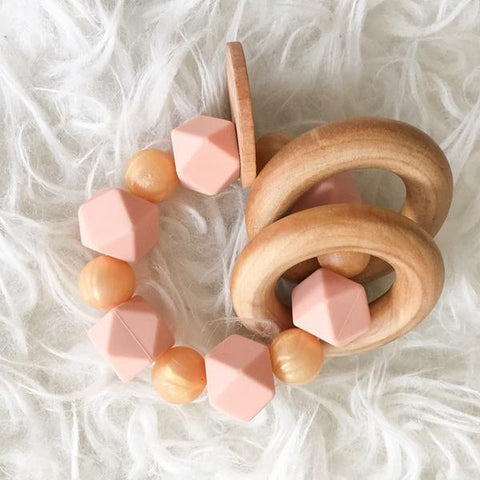 Peach Shimmer Teether Rattle