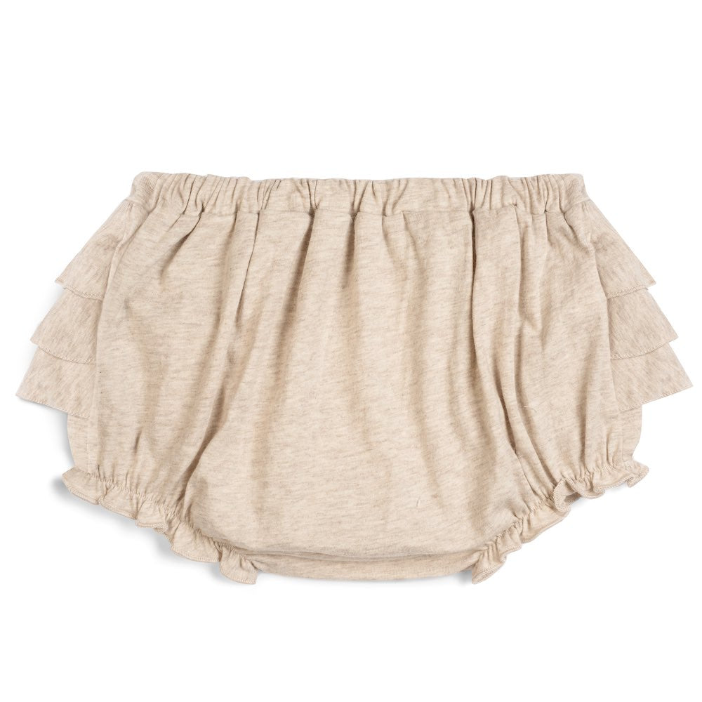 Milkbarn Kids RUFFLE Bloomer Heathered Oatmeal