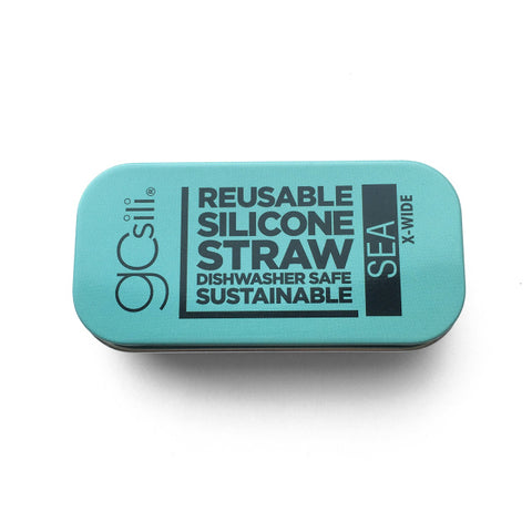 EXTRA WIDE SILICONE STRAW WITH TRAVEL CASE SEA