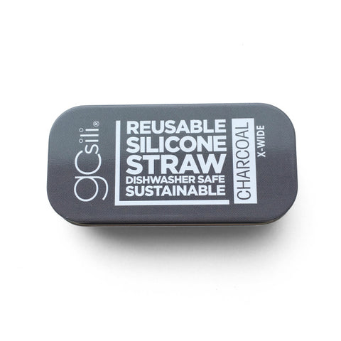 EXTRA WIDE SILICONE STRAW WITH TRAVEL CASE CHARCOAL