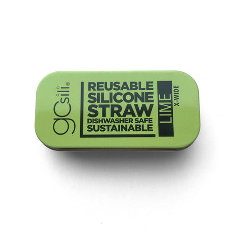EXTRA WIDE SILICONE STRAW WITH TRAVEL CASE LIME