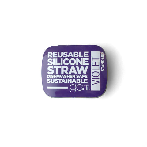 SILICONE STRAW WITH TRAVEL CASE - VIOLET
