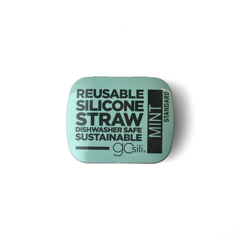 SILICONE STRAW WITH TRAVEL CASE - MINT