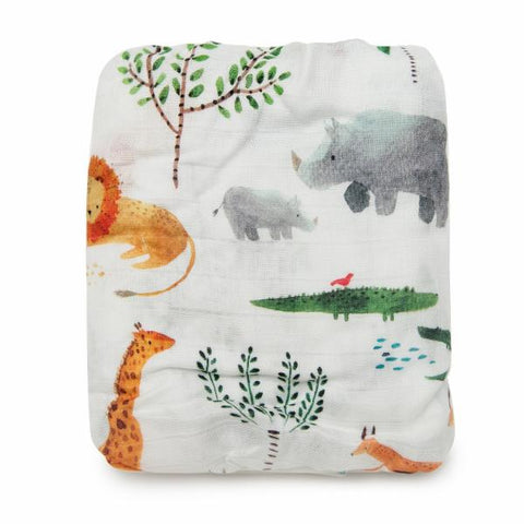 LUXE FITTED CRIB SHEET - SAFARI