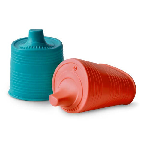 UNIVERSAL SILICONE SIPPY TOPS (RED/TEAL)