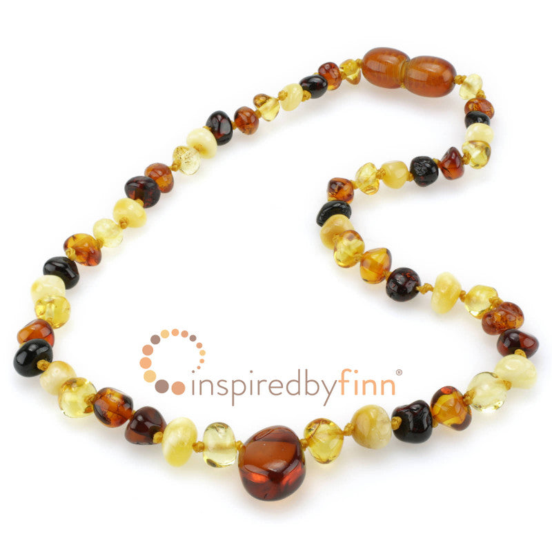Inspired by Finn Polished 4 Different Amber Pendant Necklace