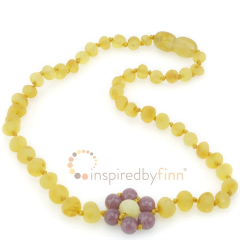 Unpolished Lemon Lepidolite Flower Amber Necklace