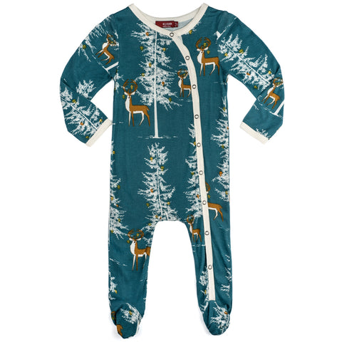 Christmas Buck Bamboo Footed Romper