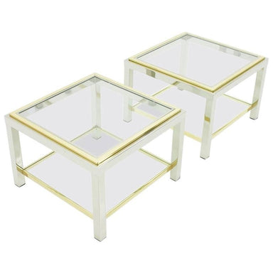 maison jansen side tables, chrome, glass, brass, table, side table, vintage, design, modern, 70s