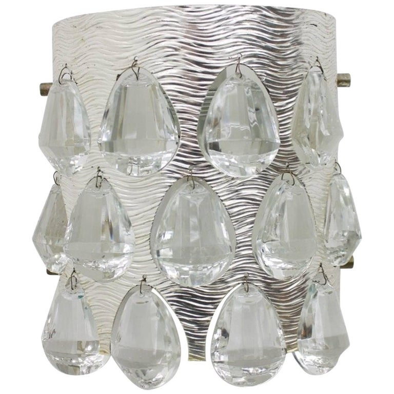 palwa, germany, silver, wall lights, glass, silver, crystal, modern, single, 60s