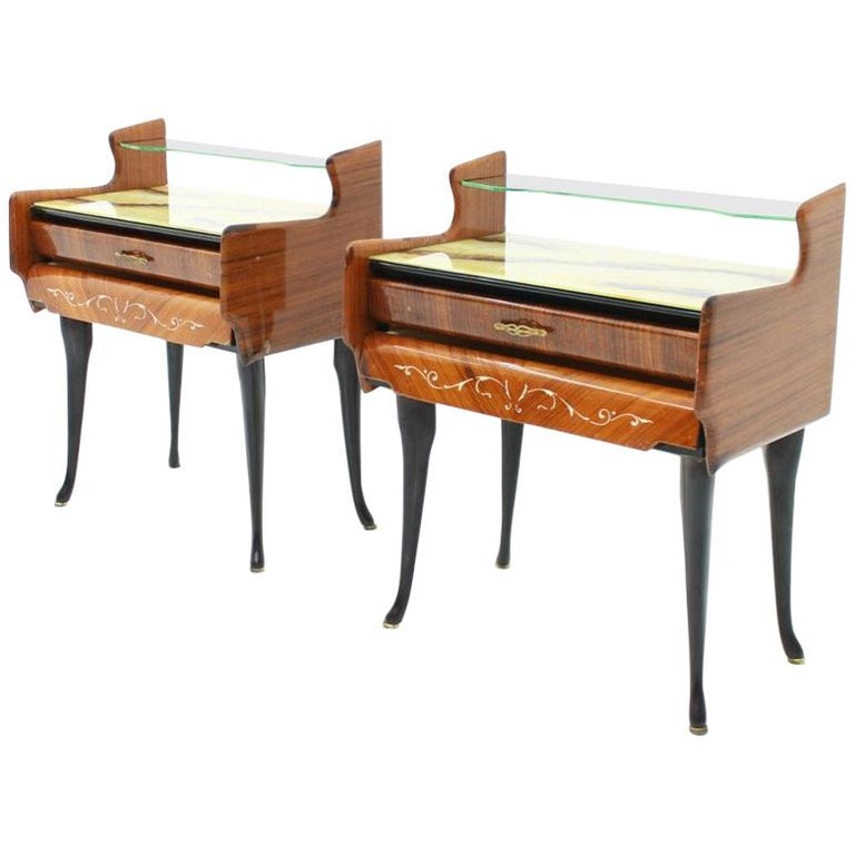 night stands, italien modern, 50s, 60s, horse legs, mohagony, back, brown, glass, marble, chest, sideboards