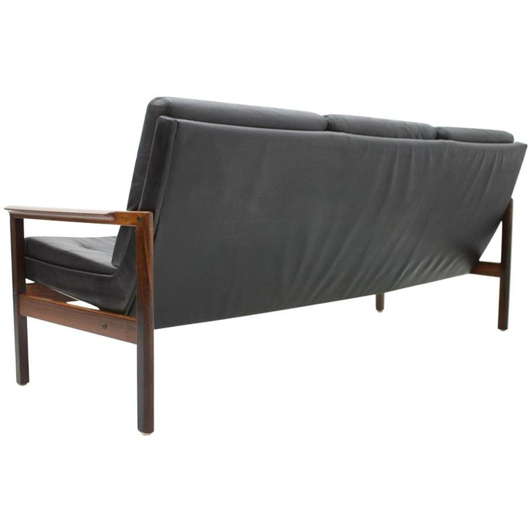 danish modern, sofa, bench, Scandinavian, modern, leather, black, wood, design, minimalism, interior, 60s