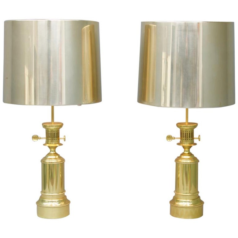 Gold, brass, lighting, table lamps, 70s, regency, design, luxury furniture, vereinige werstaetten, germany